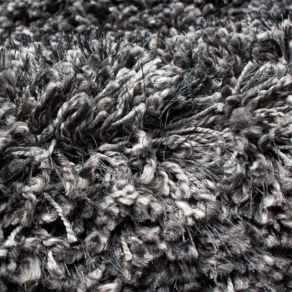 トルコ製Marika/マリカ ミックスシャギーラグ 円形(イージーオーダー) [素材アップ]ブラックミックス 2色以上のニュアンスカラーの糸をツイストした色に深みのあるシャギーです。