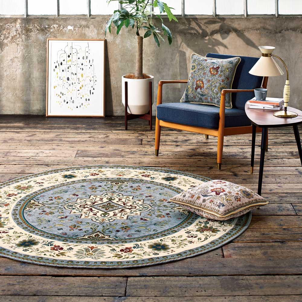 イタリア製ジャカード織ラグ〈イスタ〉 色見本(イ)モスグレー ※写真は円形 径175cmタイプです。