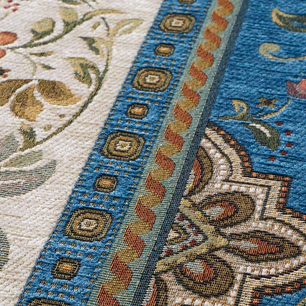 イタリア製ジャカード織ラグ〈イスタ〉円形 径約175cm (ウ)ターコイズ 生地アップ