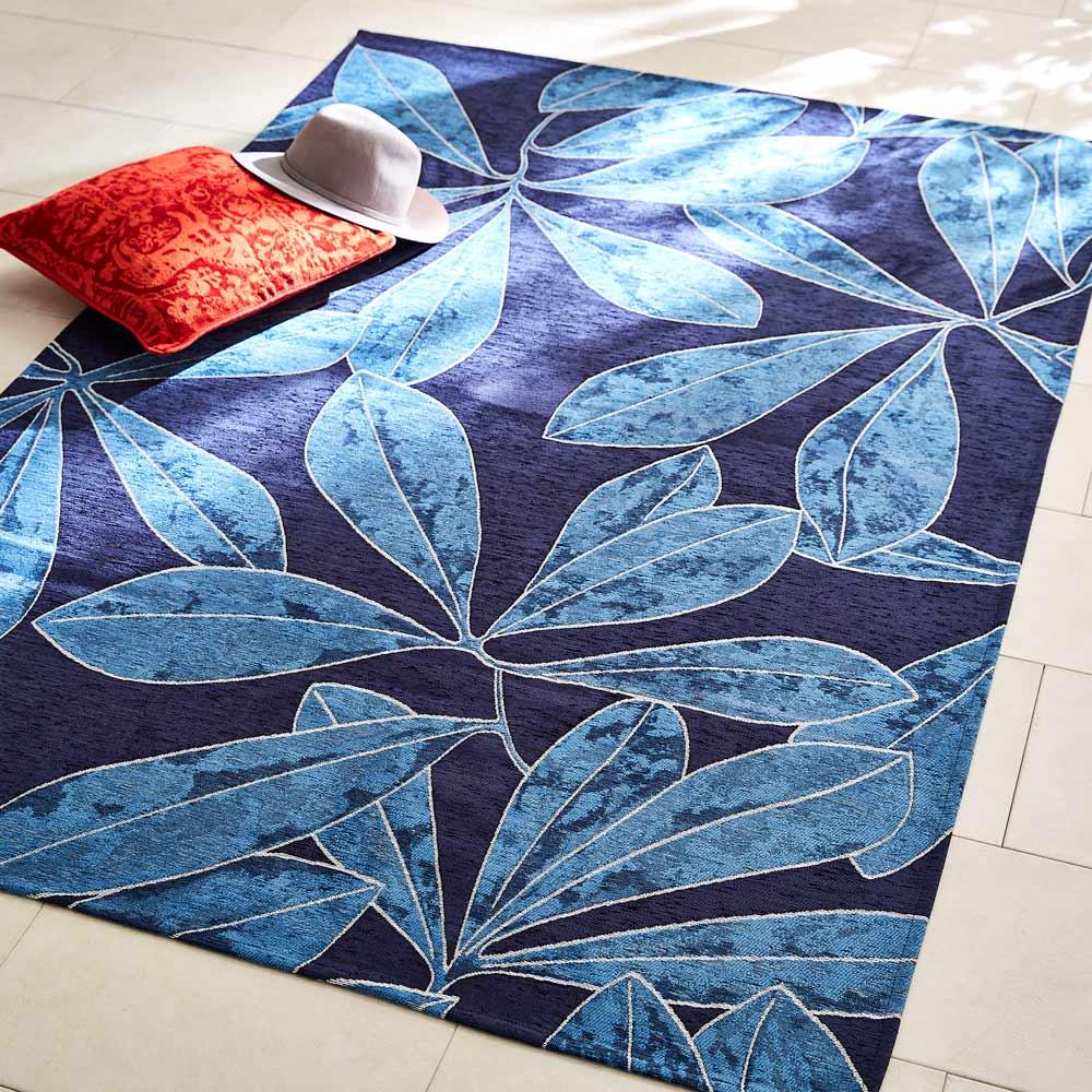 Botanico/ボタニコ イタリア製ジャガード織ラグ (イ)ブルー