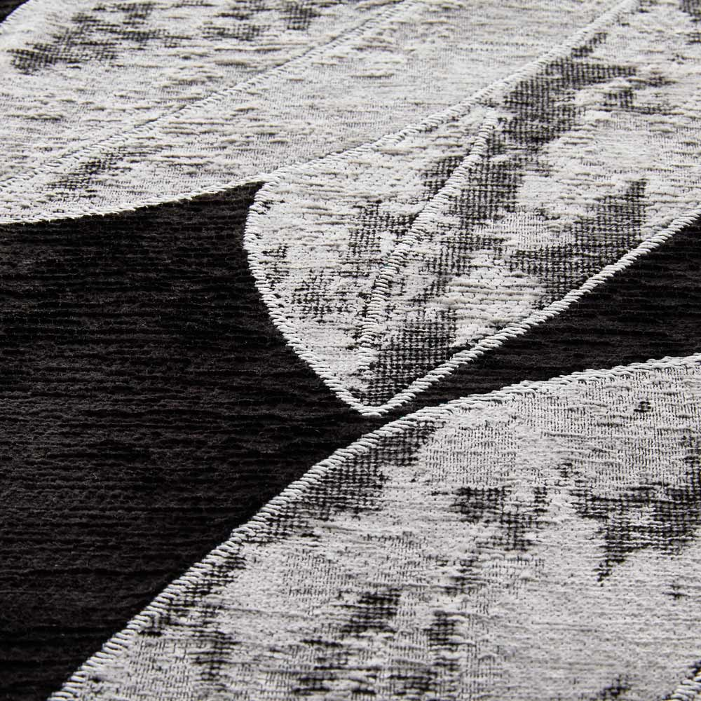 Botanico/ボタニコ イタリア製ジャガード織ラグ 生地アップ (ア)ブラック