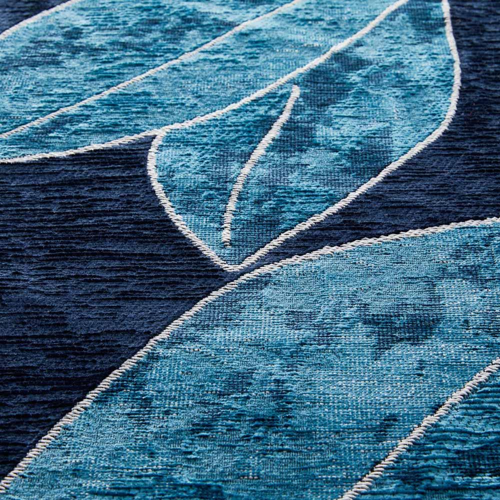 Botanico/ボタニコ イタリア製ジャガード織ラグ/マット 円形 約径175cm 生地アップ (イ)ブルー