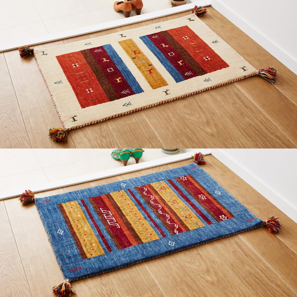 Gabbeh/ギャベ インド製 ウールラグ [色柄見本]アイボリー額縁/ブルー額縁 ※お届けはラグタイプです。