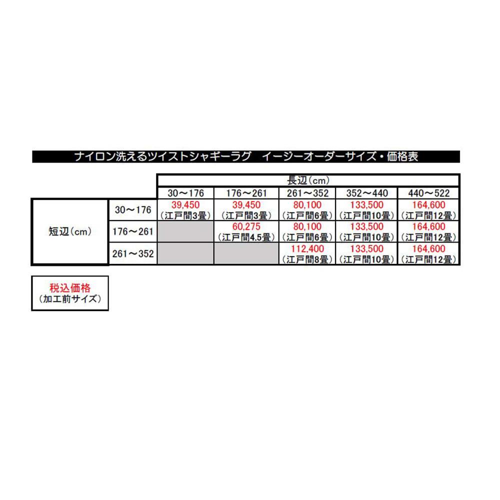 ナイロン洗えるツイストシャギーカーペット 3~12畳タイプ(イージーオーダー) イージーオーダーサイズ表