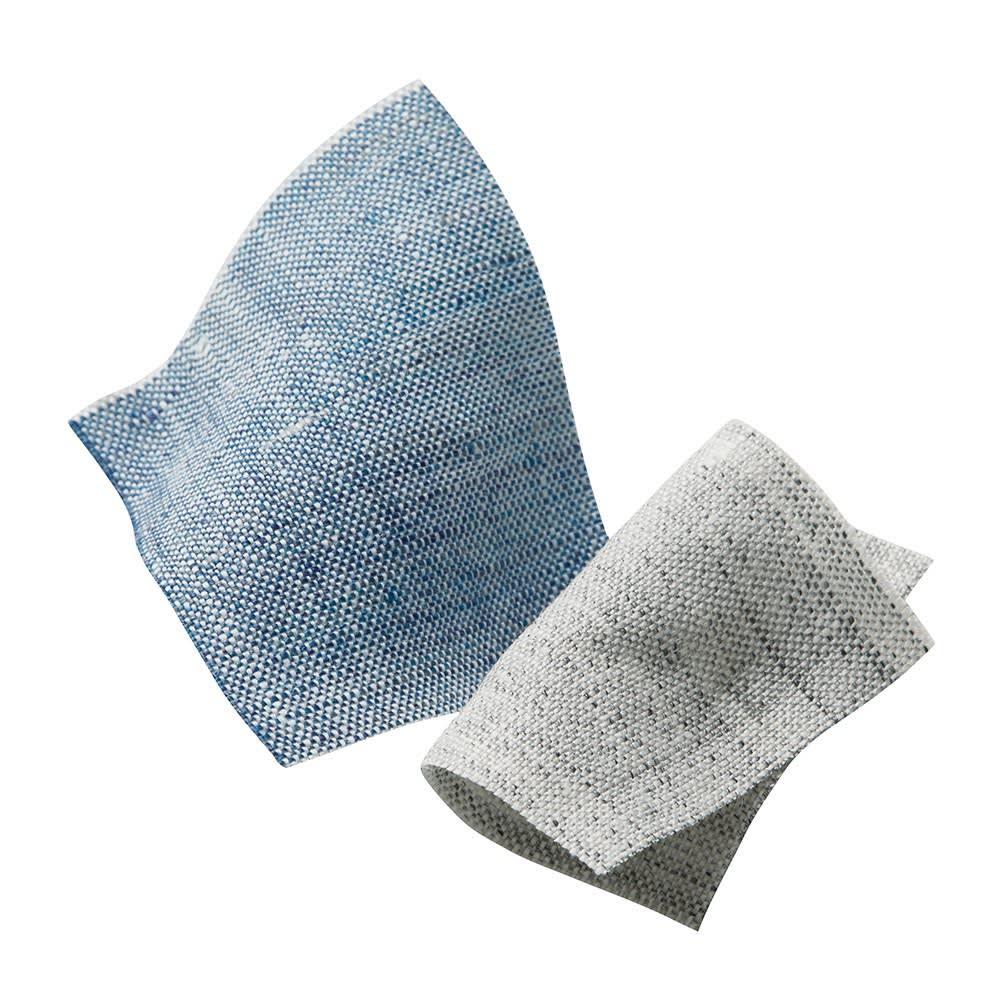 French Linen/フレンチリネン カバーリング 掛けカバー メランジ 左から(イ)ライトインディゴ(ア)グレー