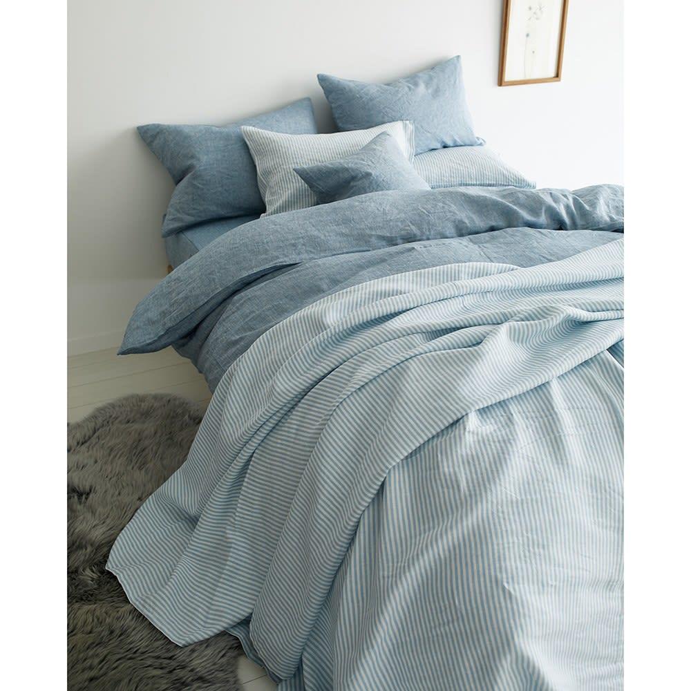 French Linen/フレンチリネン カバーリング ベッドシーツ メランジ コーディネート例(イ)ライトインディゴ