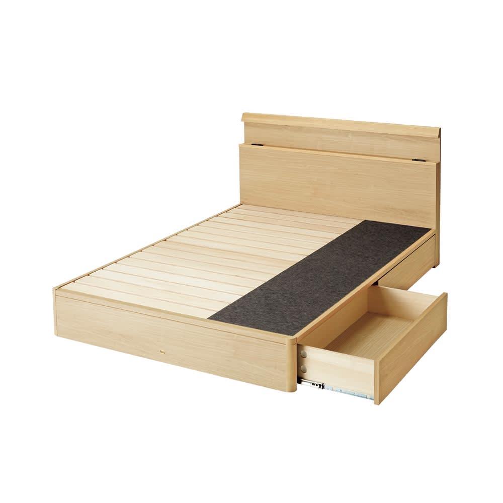 【配送料金込み 組立・設置サービス付き】シェルフスリム 引き出し付きベッド 5.5インチマットレス (ウ)ナチュラル ※写真はダブルサイズです。