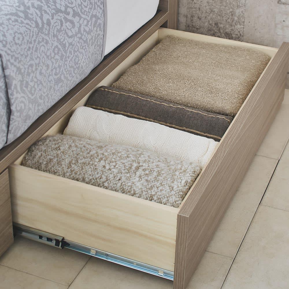 【配送料金込み 組立・設置サービス付き】シェルフスリム 引き出し付きベッド 5.5インチマットレス 引き出しにはオフシーズンの寝具やカーペットなどを収納。