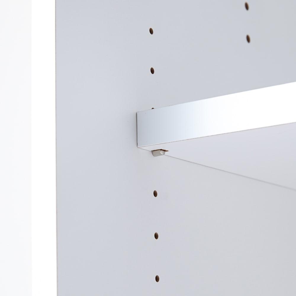 Milath/ミラス スライドワードローブ ガラス扉タイプ 幅80.5cm 別売り棚板は可動式で3cm間隔で調整できます。