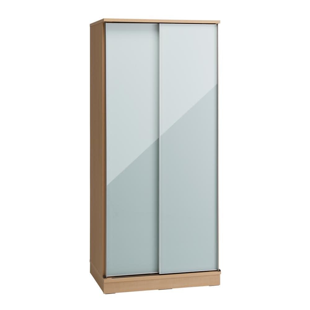 Milath/ミラス スライドワードローブ ガラス扉タイプ 幅80.5cm ライトナチュラル