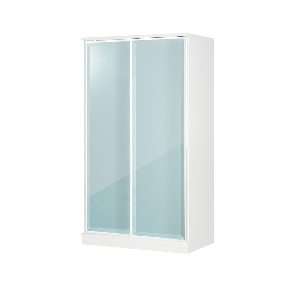 Milath/ミラス スライドワードローブ ガラス扉タイプ 幅100.5cm ホワイト