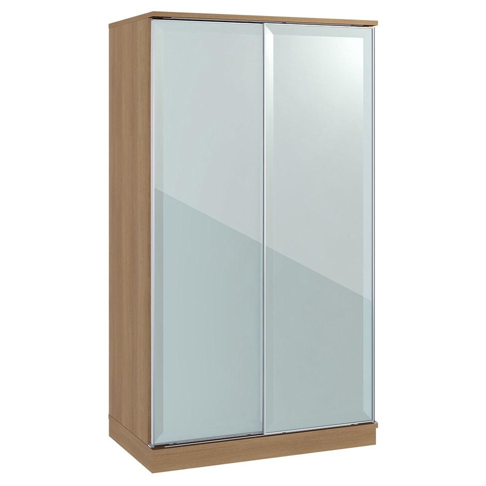 Milath/ミラス スライドワードローブ ガラス扉タイプ 幅100.5cm ライトナチュラル