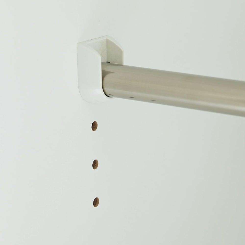Milath/ミラス スライドワードローブ ガラス扉タイプ 幅120.5cm 棚板と下段ハンガーパイプは3cm間隔で、下段ハンガーは4段階、棚は18段階に調整できます。