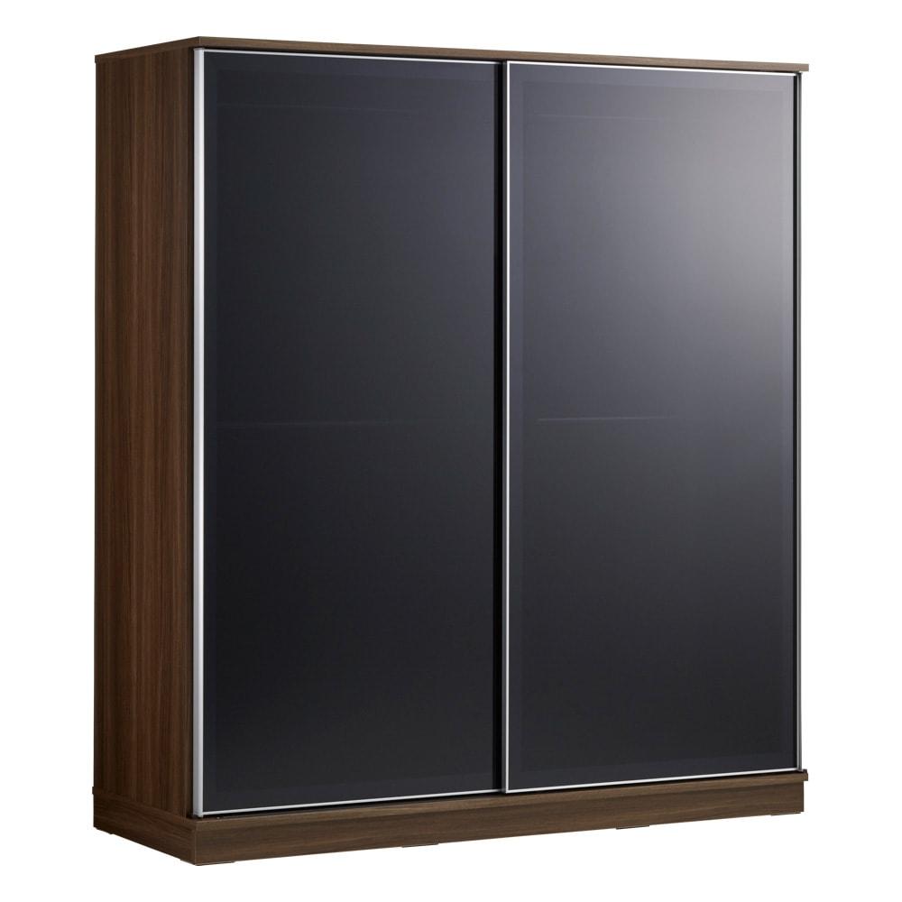 Milath/ミラス スライドワードローブ ガラス扉タイプ 幅160.5cm ダークブラウン
