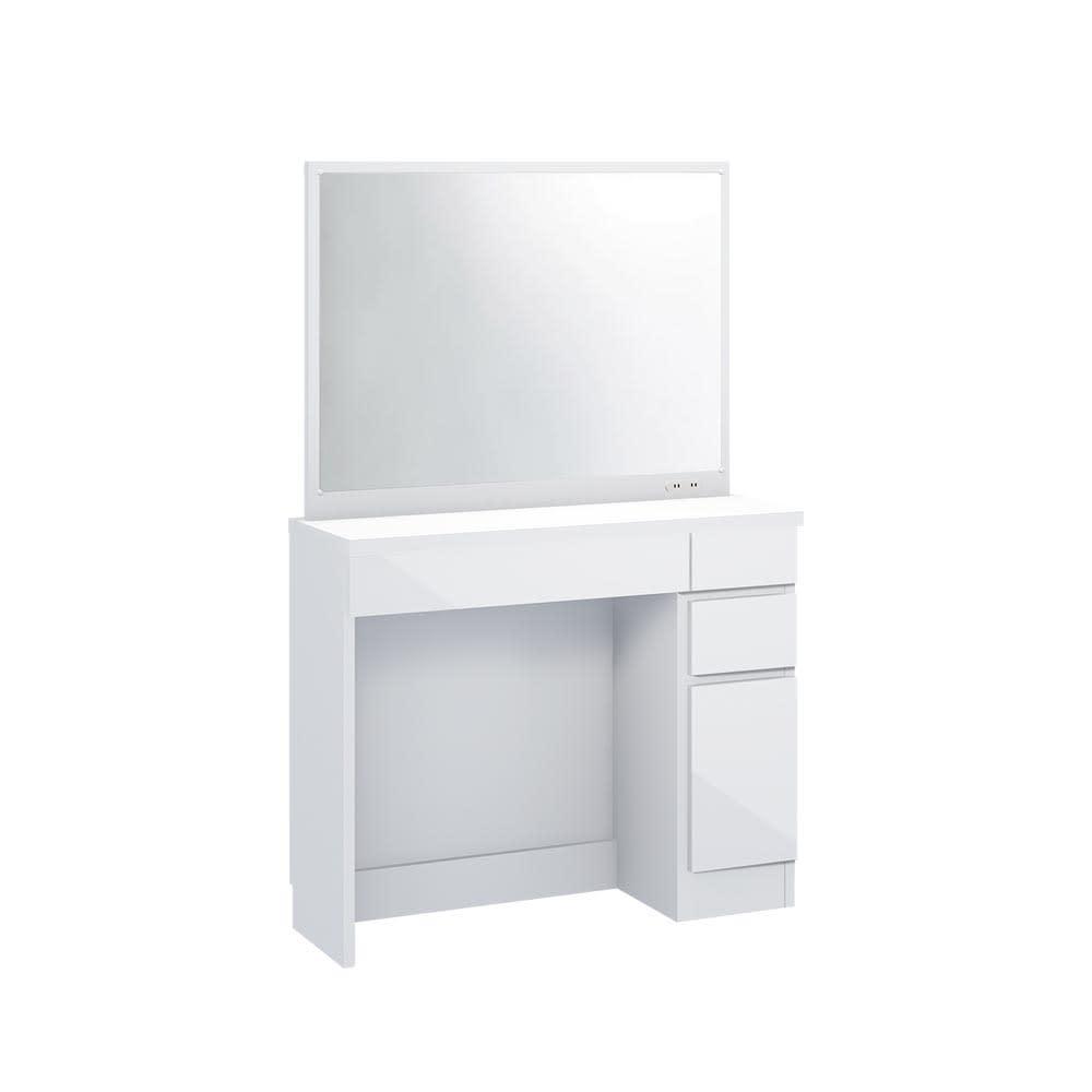 Milath/ミラス 薄型ワイドドレッサー 幅87.5cm 奥行30cm高さ132cm (ア)ホワイト