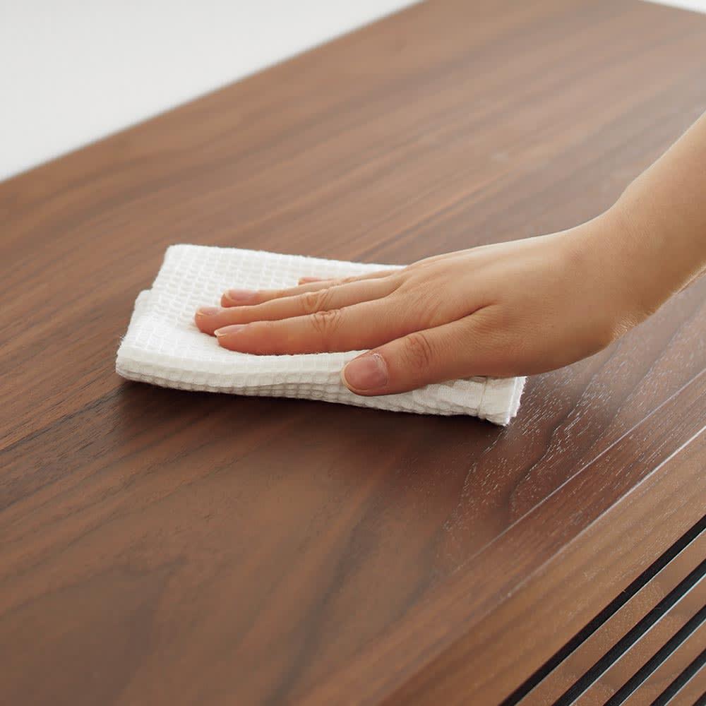 Maisema/マイセマ ウォルナット格子チェスト 幅80cm・3段(高さ72.4cm) 汚れがサッと拭き取れるウレタン塗装仕上げで、お手入れ簡単。
