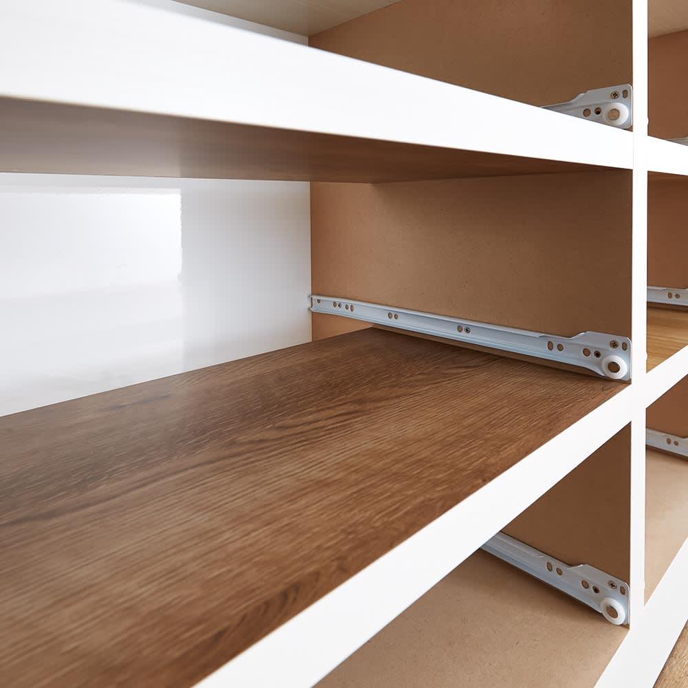 Ruska/ルスカ 多段引き出しチェスト 幅90cm・5段(高さ110cm) 幅広の地板をつけることで、デリケートな衣類も引っかかりにくく衣類に優しい設計。