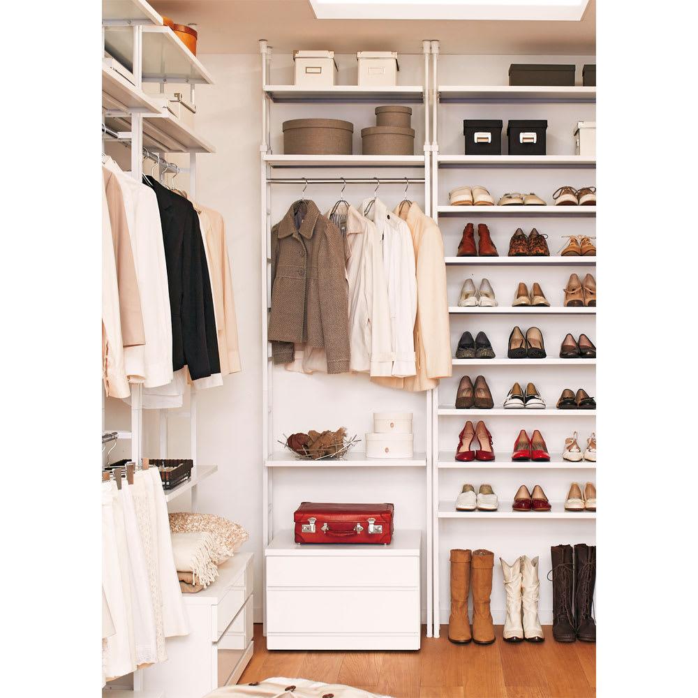 Struty(ストラティ) ラックシリーズ ハンガー2本&棚3段・幅70cm ウォークインクローゼットや寝室におすすめの薄型クローゼットハンガーです。