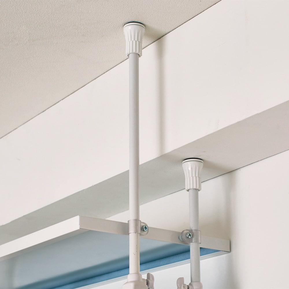 Struty(ストラティ) ラックシリーズ ハンガー2本&棚3段・幅100cm 突っ張り棒は個別に伸縮できるので、天井の梁や段差にも対応します。