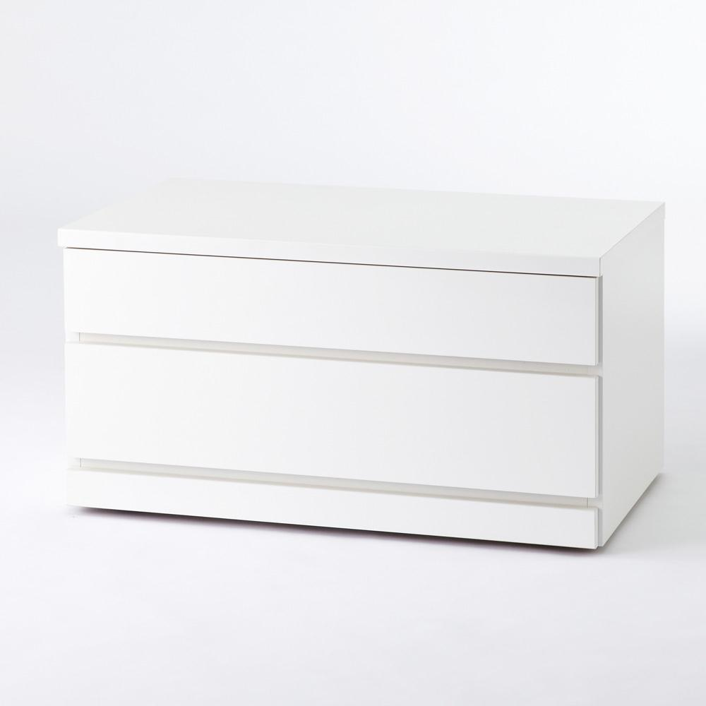 クローゼットチェスト(隠しキャスター付き) 幅75cm・2段 こちらの商品は【幅75cm・2段タイプ】です。
