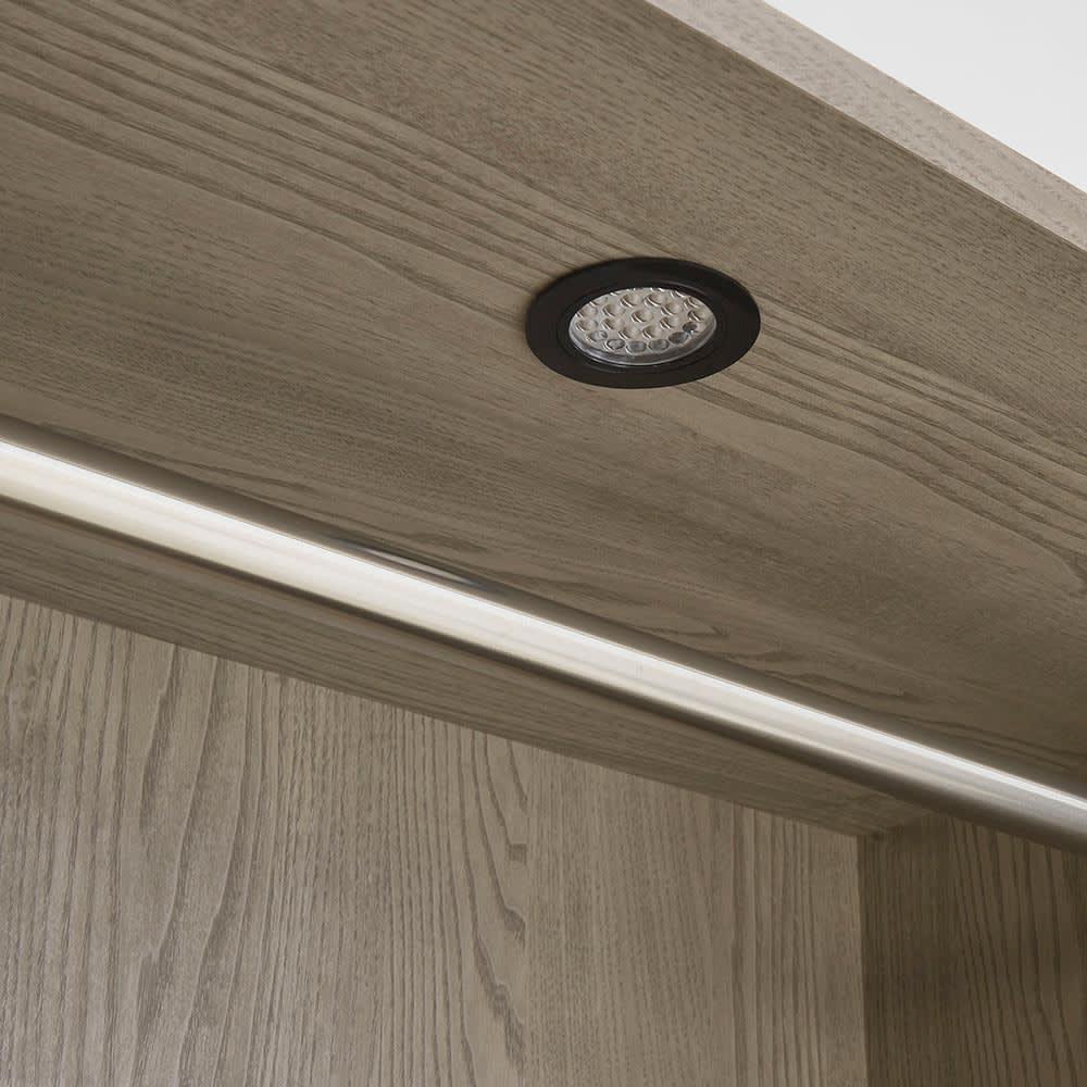 Vises/ヴィセス オープンワードローブ 幅60cm ハンガー&引き出し LED照明消灯時