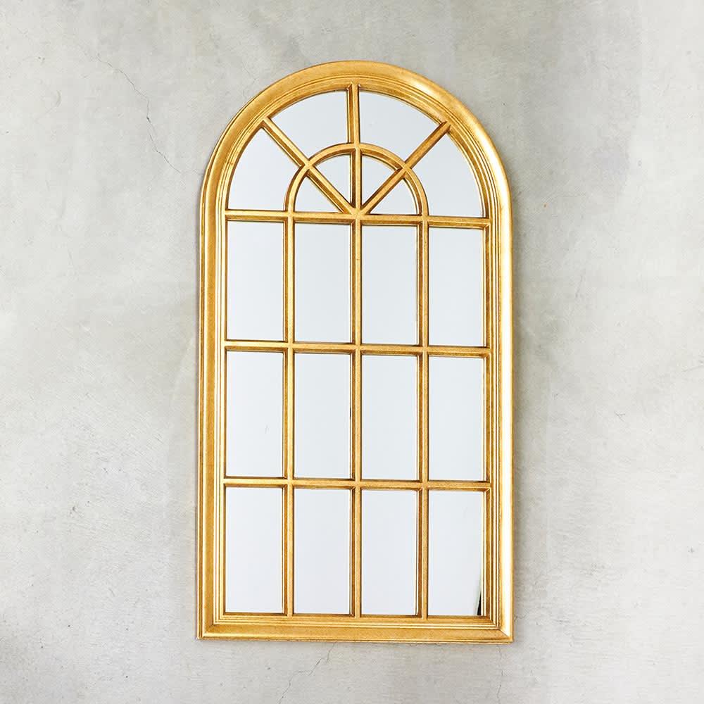 Window Style/ウィンドウスタイル ホワイト 壁掛けミラー・ウォールミラー(ホワイト/ゴールド) クラシックモダンな窓をモチーフに仕上げたミラーです。
