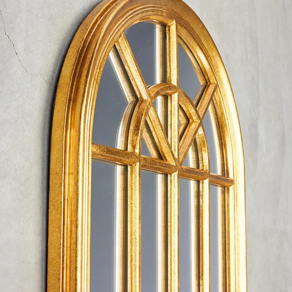 Window Style/ウィンドウスタイル ホワイト 壁掛けミラー・ウォールミラー(ホワイト/ゴールド) 立体感のあるフレームの仕上げで本物の窓のようなデザインに。