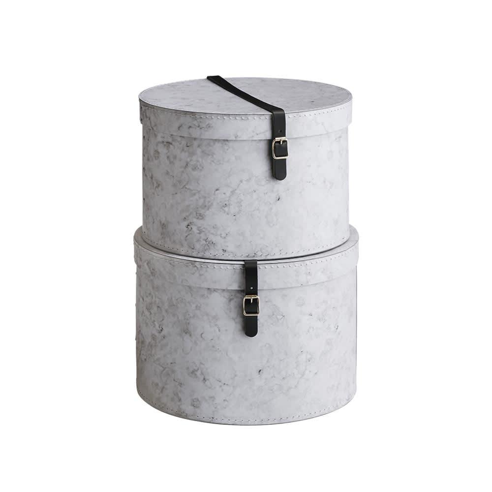 帽子収納ボックス大理石柄 2個セット[BIGSOBOX/ビグソーボックス]スウェーデン生まれの収納ボックス お届けの商品はこちらの2個セットです。