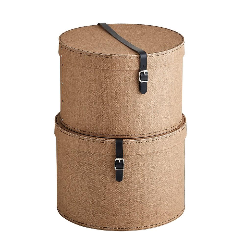 帽子収納ボックス 2個セット[BIGSOBOX/ビグソーボックス]スウェーデン生まれの収納ボックス (ア)ブラウン