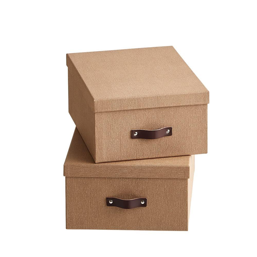 Sサイズ収納ボックス 2個セット[BIGSOBOX/ビグソーボックス]スウェーデン生まれの収納ボックス (ア)ブラウン