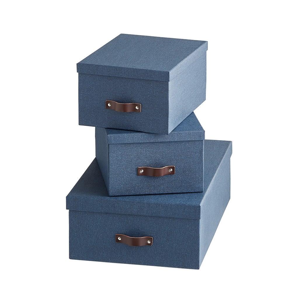 収納ボックス 3個セット[BIGSOBOX/ビグソーボックス]スウェーデン生まれの収納ボックス (ウ)ネイビー