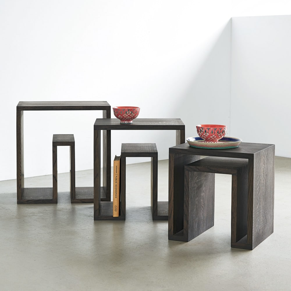 SHOJI/ショージ ネストテーブル リビングテーブル/サイドテーブル[abode・アボード/デザイン:ウー・バホリヨディン] テーブル3台セットです。