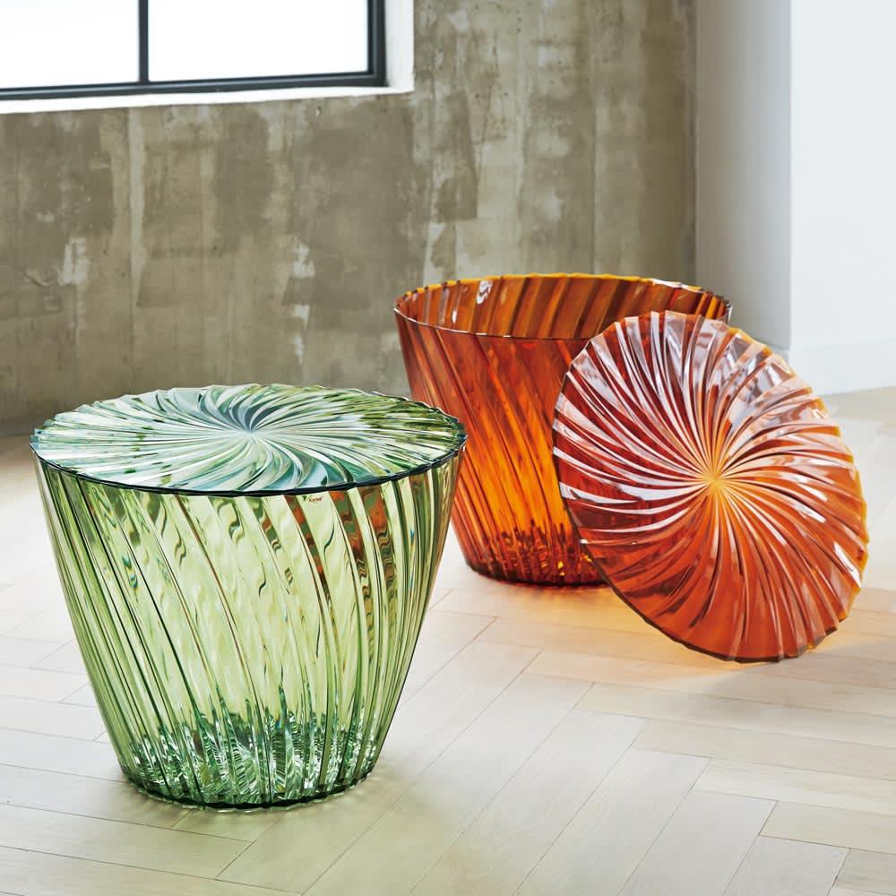 Sparkle/スパークル サイドテーブル [Kartell/カルテル デザイン:吉岡徳仁] プリーツ状の加工で宝飾のような印象のスモールテーブルです。