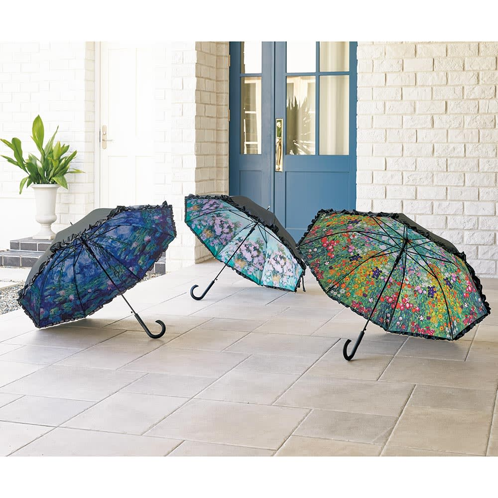 名画フリルジャンプ傘&折りたたみ傘セット 左から(ア)モネ(睡蓮)、(ウ)ゴッホ(ホワイトローズ)、(イ)クリムト(フラワーガーデン)