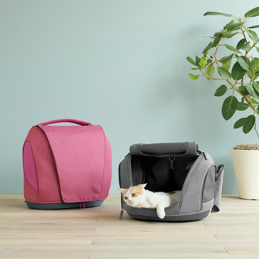 ミュナペットキャリーバッグ 猫用 ライトレッド/ライトブルー/ライトグレー