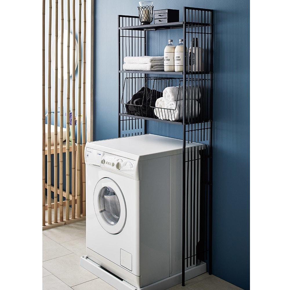 Hanji/ハンジ 格子ランドリー 棚3 洗濯機ラック・ランドリーラック