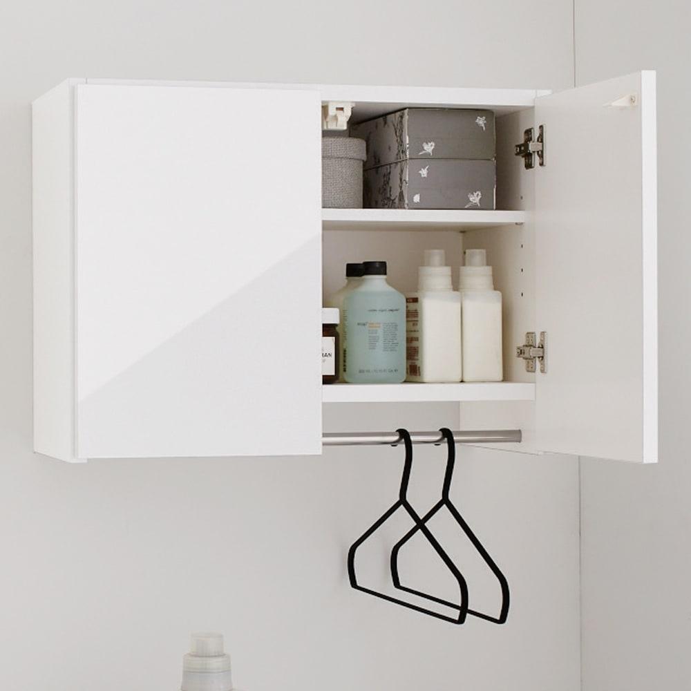 Jerid/ジェリド ハンガーバー付き吊り戸棚 幅59.5cm ブラックヘアライン 洗濯機ラック・ランドリーラック