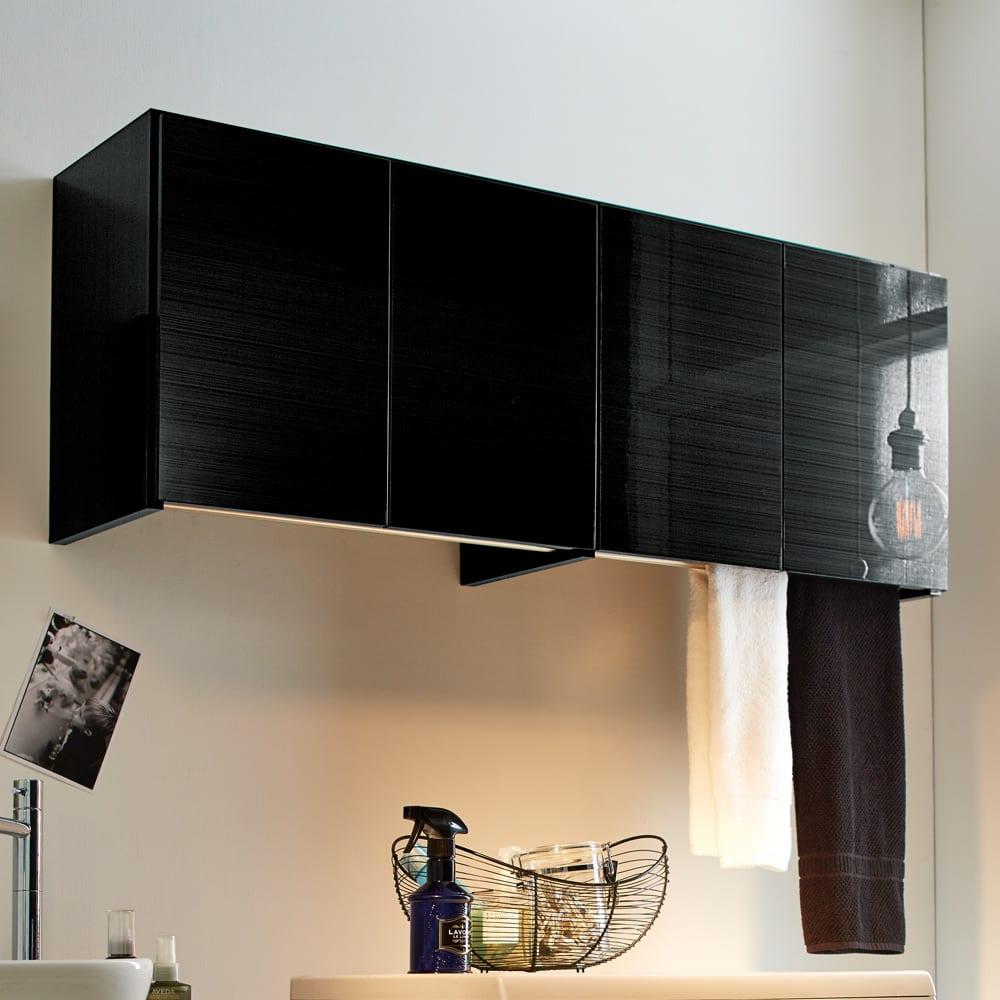 Jerid/ジェリド ハンガーバー付き吊り戸棚 幅118.5cm ブラックヘアライン 洗濯機ラック・ランドリーラック