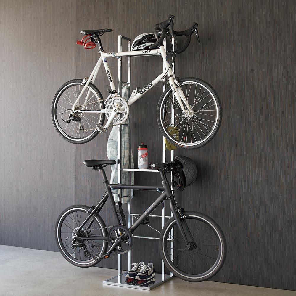家具 収納 玄関収納 屋外収納 自転車スタンド ガレージ 2台用(フック可動式サイクルスタンド) H03004