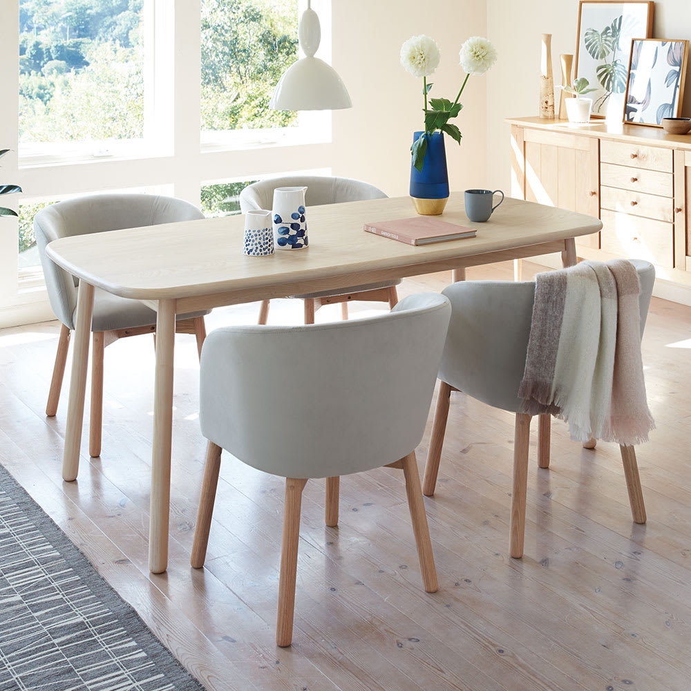 Ridge/リッジ ダイニングセット 天然木長方形テーブル5点セット テーブル幅160cm×75cm コーディネート例(イ)ライトグレー  あたたかな北欧デザインゆったりくつろぎのダイニング