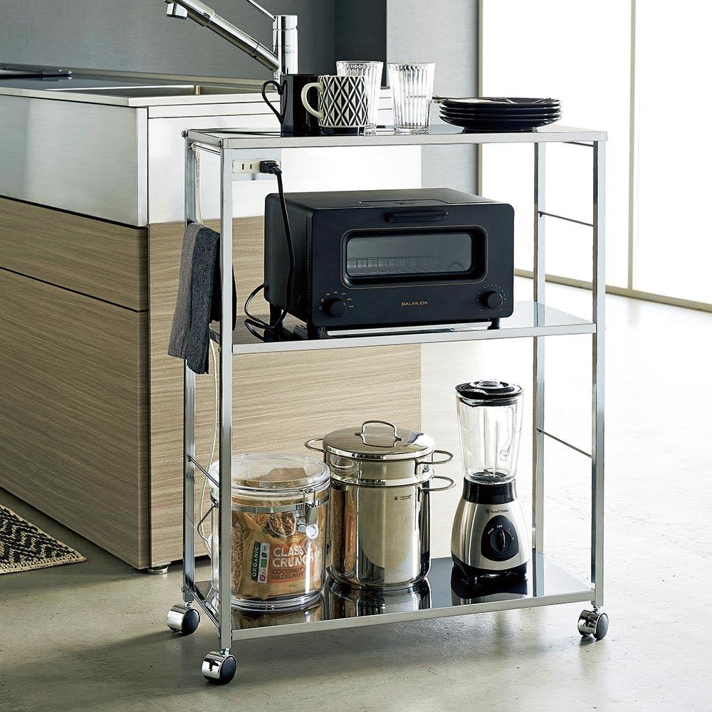 ステンレス天板キッチン作業台 コンセント付き作業台 幅68cm