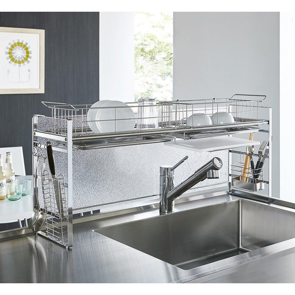 キッチン 家電 キッチン収納 水切り 水切りかご ラック シンク上目隠し水切りラックDX H04313