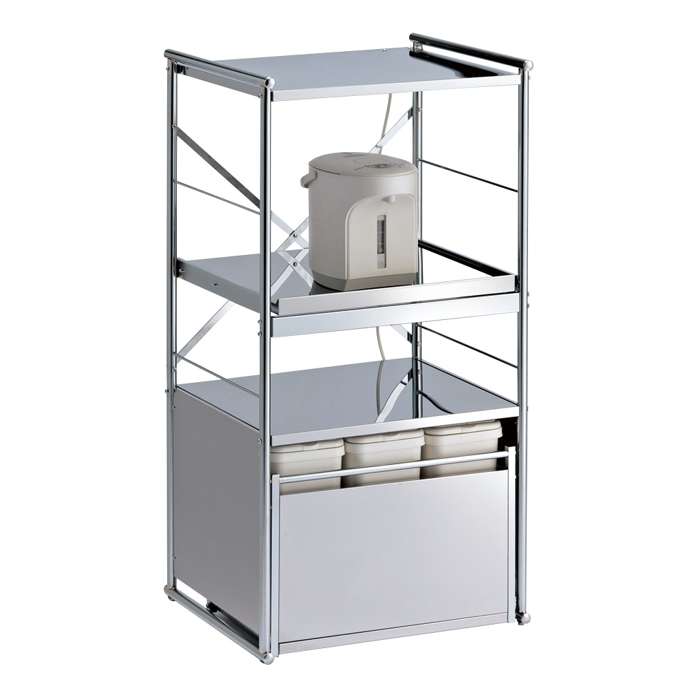 ステンレス製大型レンジ対応ラック ミドルタイプダスト 大型レンジや炊飯器などまとめて収納出来るレンジラックです。 (外寸cm)幅61×奥行52×高さ116