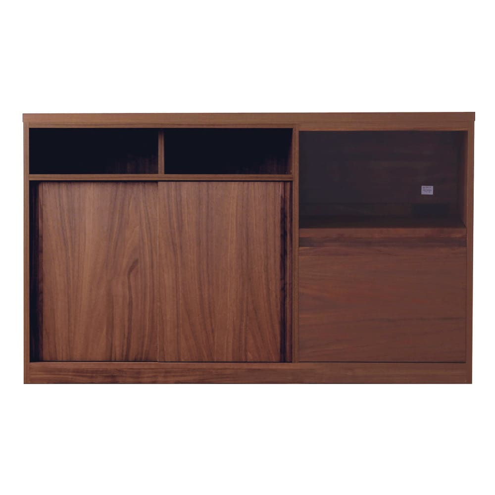 VineII/ヴィネ2 アイランドカウンターウォルナットタイプ ウォルナット天板 幅150cm スライドテーブル奥行=30内寸(cm)