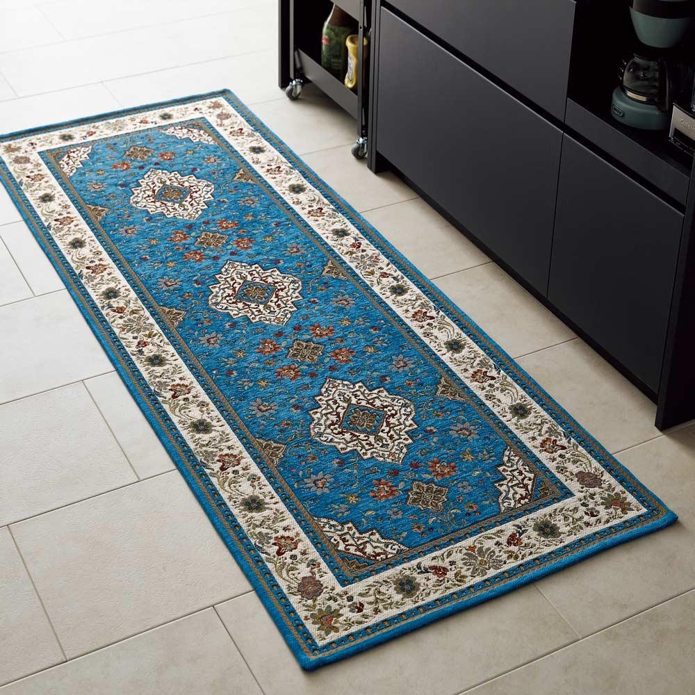 イタリア製ジャカード織マット〈イスタ〉 (ウ)ターコイズ ※写真は約65×180cmです。