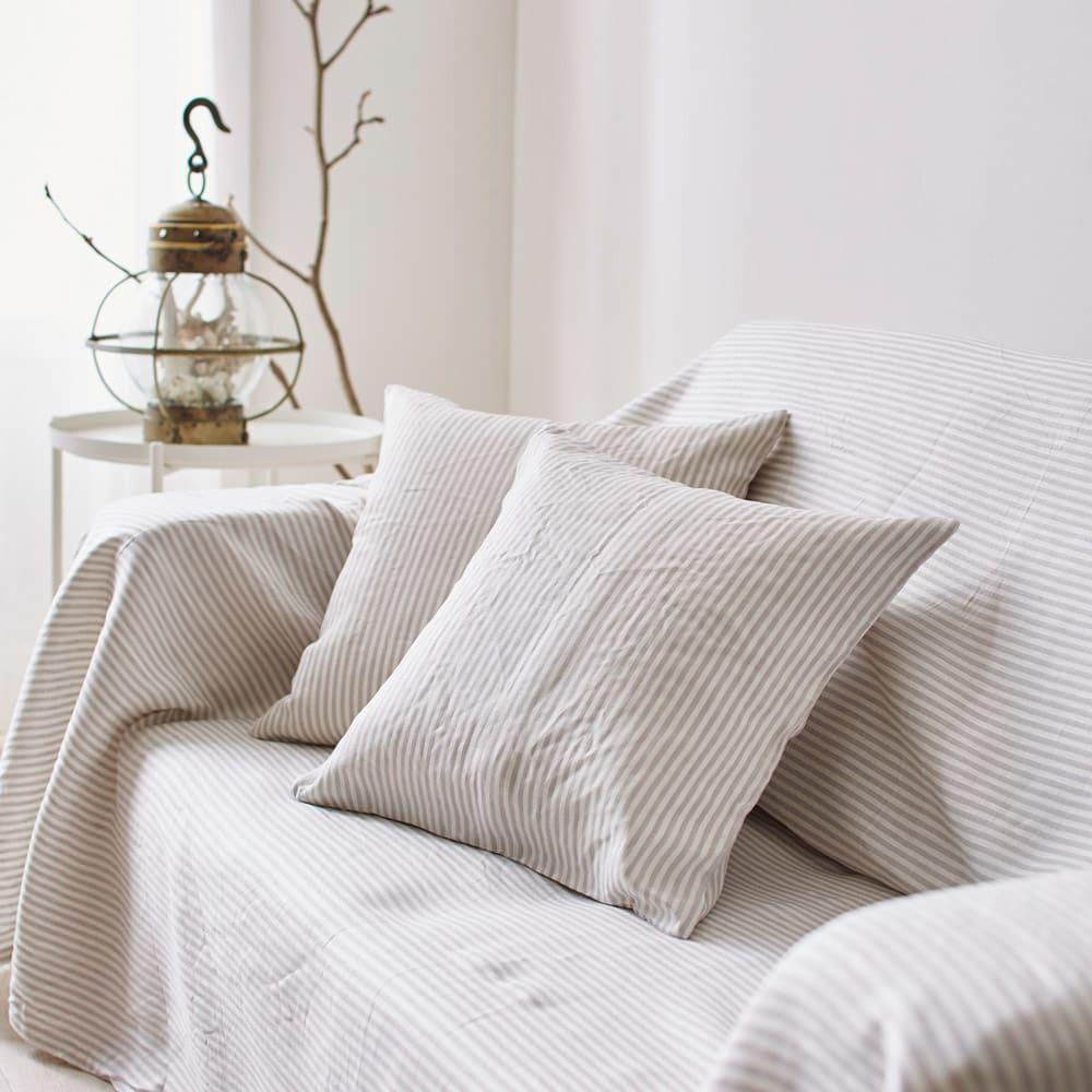 French Linen/フレンチリネン ヘリンボーン織カバーリング クッションカバー グレー クッション・クッションカバー