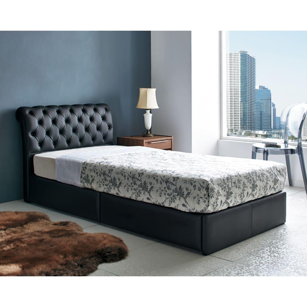 国産ユーロトップポケットコイルマットレス LeClass/ルクラス 引き出し付きベッド [使用イメージ]ブラック