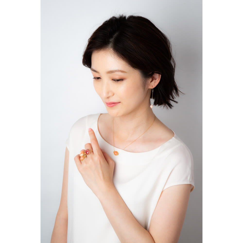 YUKIKO OKURA/ユキコ・オオクラ K18 ガーネ珊瑚 リング コーディネート例