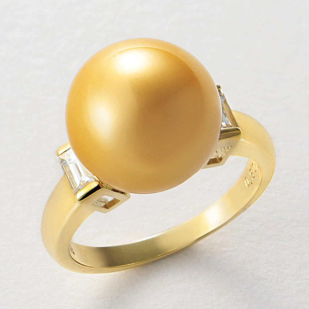 K18 12mm ミャンマーゴールド 花珠パール ダイヤ リング