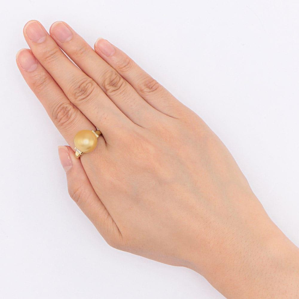 K18 12mm ミャンマーゴールド 花珠パール ダイヤ リング 着用例